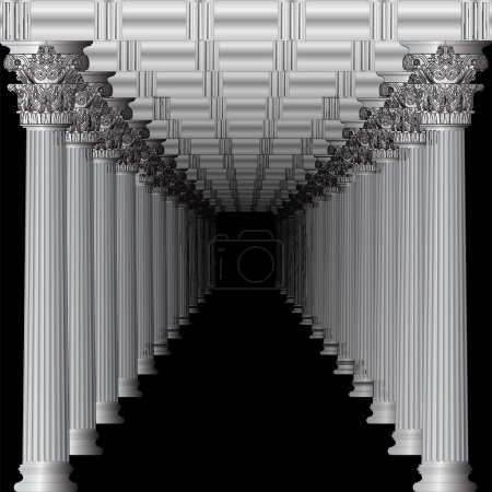 Entrance to a Greek temple in perspective black