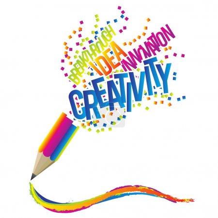 Illustration pour Concept de créativité avec crayon coloré et créatif thème Mots. - image libre de droit