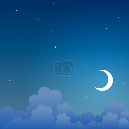 Illustration for Vector background of a night scene in the sky. - Royalty Free Image