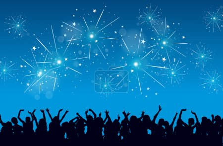 Illustration for Vector background of a New Year eve celebration with silhouettes of raving and fireworks. - Royalty Free Image