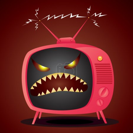 Vector illustration of cartoon television with an ...