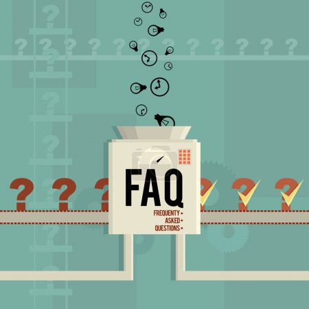 Illustration for Vector illustration of a FAQ machine answering frequently asked questions. - Royalty Free Image