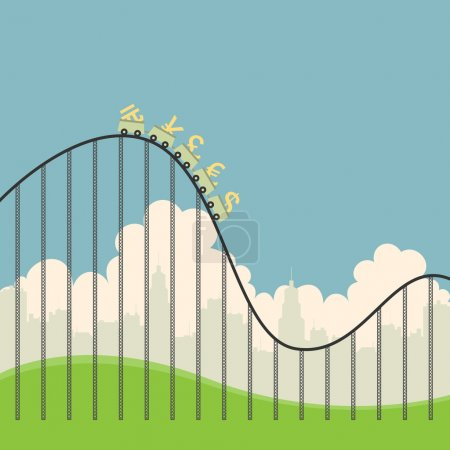 Illustration for Vector illustration of several currency signs on a roller coaster. - Royalty Free Image