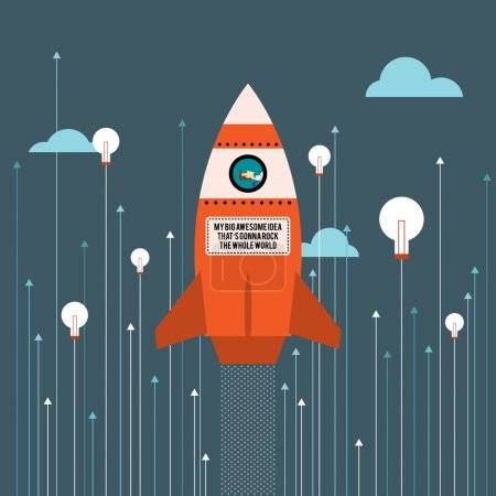 Illustration for Vector illustration of big idea business innovation rocket. - Royalty Free Image