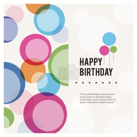 Illustration for Vector illustration of happy birthday card with colorful abstract balloons. - Royalty Free Image