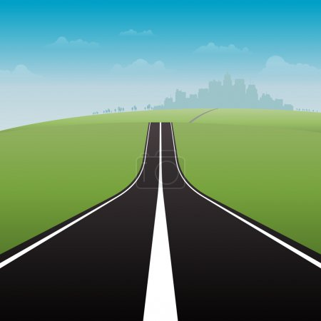 Illustration for Vector illustration of a long road to the great city. - Royalty Free Image