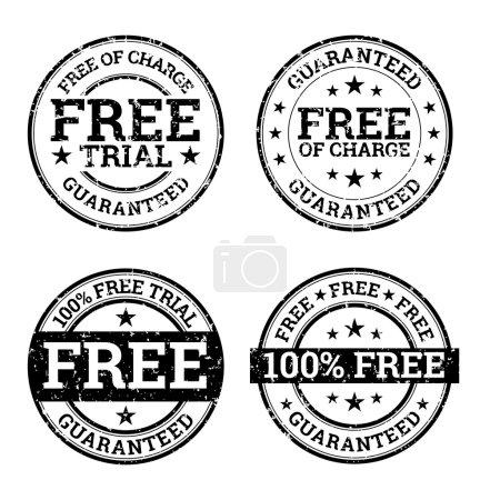 Illustration pour Illustration vectorielle de timbres d'essai gratuits en noir et blanc . - image libre de droit