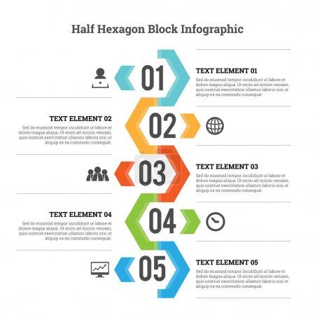 Illustration for Vector illustration of half hexagon block infographic design element. - Royalty Free Image