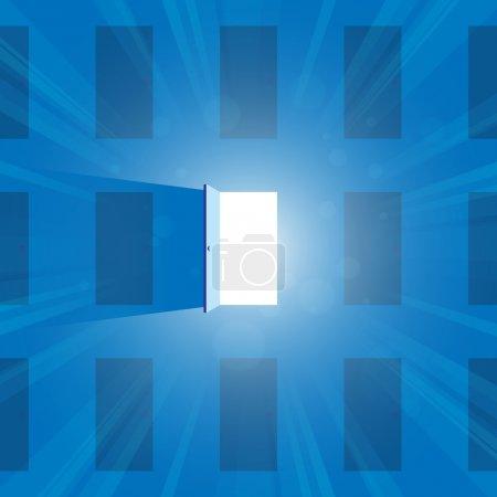 Vector illustration of one open door full of light...