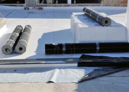 Construction site - waterproofing and insulation pvc terrace