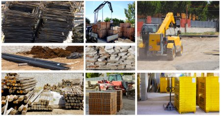 Storage building materials with the use of a telescopic loader and forklift