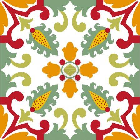 Seamless green ornament tiles