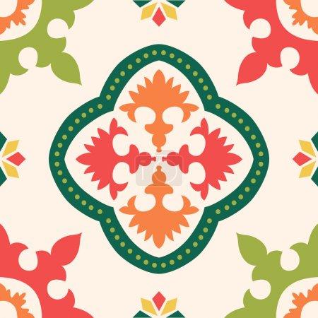 Illustration for Beautiful seamless ornamental tile background vector illustration - Royalty Free Image