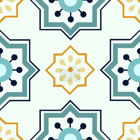 Illustration for Beautiful seamless ornamental tile background vector illustration - Royalty Free Image
