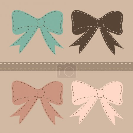 Illustration for Seamless vector pattern with bows on a pastel background. For cards, invitations, wedding or baby shower albums, backgrounds, arts and scrapbooks. - Royalty Free Image