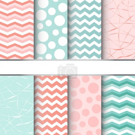 Illustration for Set of blue pastel and pink jumbo polka dots, gingham and chevron seamless patterns. Vector background - Royalty Free Image
