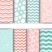 Set of blue pastel and pink jumbo polka dots gingham and chevron seamless patterns Vector background