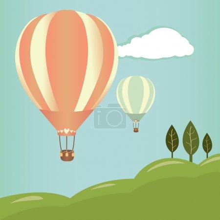 Illustration pour Montgolfières dans le ciel. illustration vectorielle. arrière-plan de paysage - image libre de droit