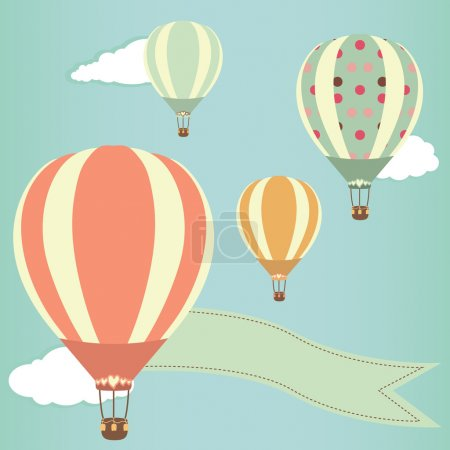 Illustration for Hot air balloons in the sky. Vector illustration. Greeting card background - Royalty Free Image