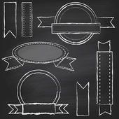 Vector Collection of Chalkboard Style Banners Ribbons and Frames