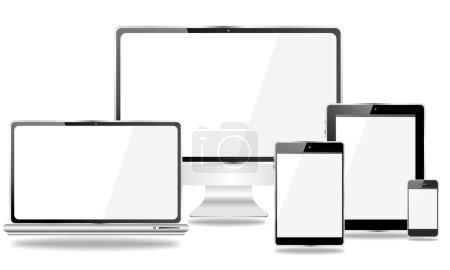 Photo pour Ensemble d'appareils mobiles, smartphone, tablette pc, ordinateur portable, dans différentes positions - image libre de droit