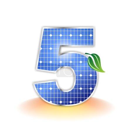 Solar panels texture, alphabet number 5 icon or symbol