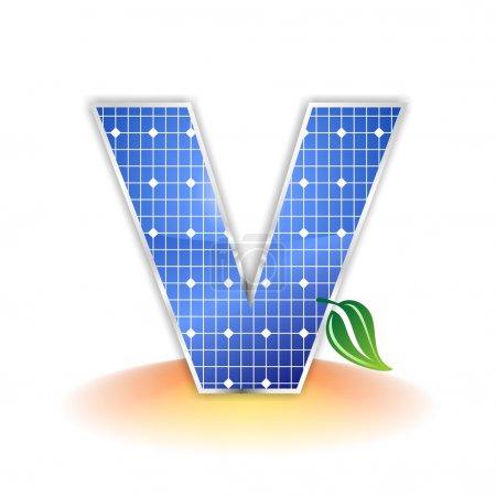Textura de paneles solares, letra mayúscula del alfabeto V icono o símbolo