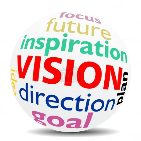 Photo for VISION, as a creative inspiration in a word cloud designed in a 3D sphere with shadow - Royalty Free Image