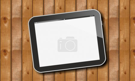 Tablet pc on wooden horizontal planks