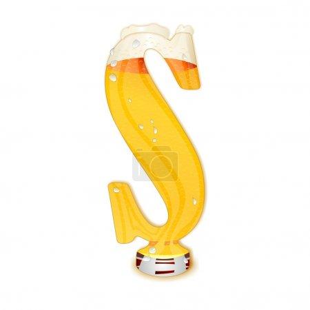 Photo pour Illustration très détaillée d'une bière alphabet capital ou de la police en majuscules sur fond blanc, montrant un verre de cristal rempli avec la forme de s de lettre et peu de mousse. gouttes, perles, bulles. - image libre de droit