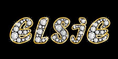 The name Elsie spelled in bling diamonds, with shiny, brilliant golden frame