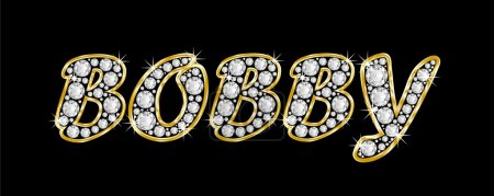The name Bobby spelled in bling diamonds, with shiny, brilliant golden frame