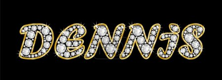 The name Dennis spelled in bling diamonds, with shiny, brilliant golden frame