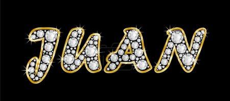 The name Juan spelled in bling diamonds, with shiny, brilliant golden frame