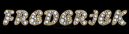 The name Frederick spelled in bling diamonds, with shiny, brilliant golden frame