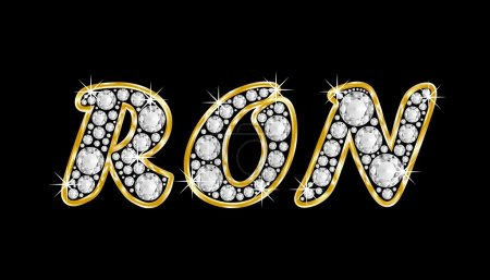The name Ron spelled in bling diamonds, with shiny, brilliant golden frame