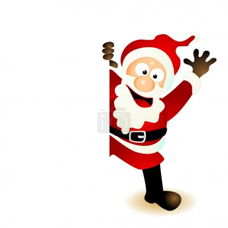 Photo for Santa claus cartoon character jumping out from behind of a blank, empty space like a board, card or sign holding the edge. smiling and friendly greeting as well as waving or laughing. - Royalty Free Image