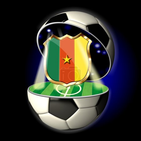 Open soccer ball with crest of Cameroon