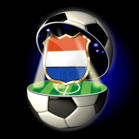 Open soccer ball with crest of Netherlands