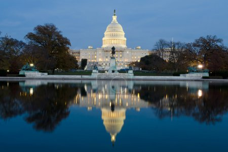 View on Capitol in Washington DC on dusk from the ...
