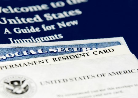 US immigration documents closeup