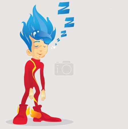 Young superhero exhausted