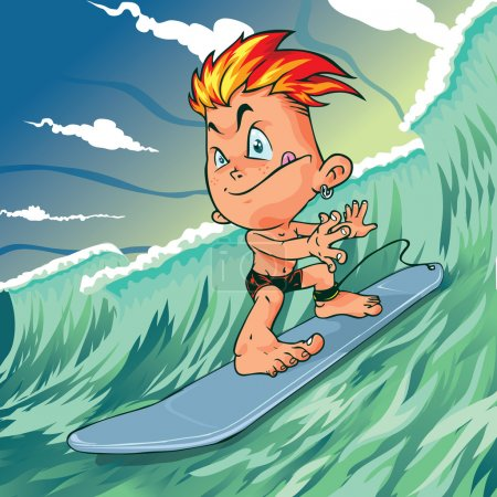Cartoon Young Surfer