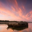 Barge at evening sky...