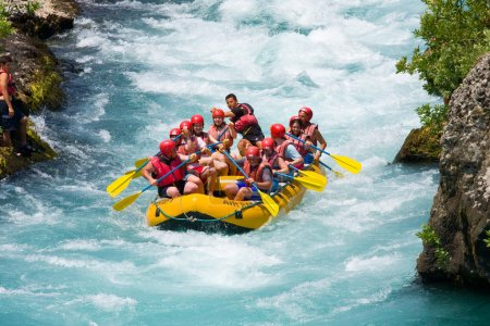 GREEN CANYON, TURKEY - JULY 10: Unidentified persons enjoy a day of whitewater rafting on July 10, 2009 on the Manavgat River in Turkey.