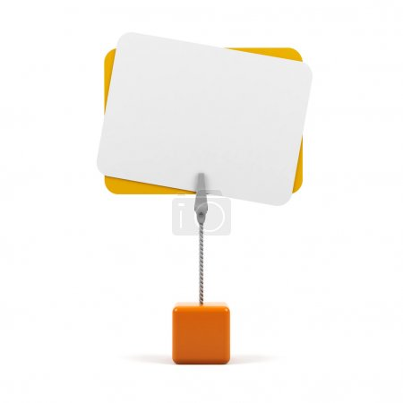 Stand with card on a white background.