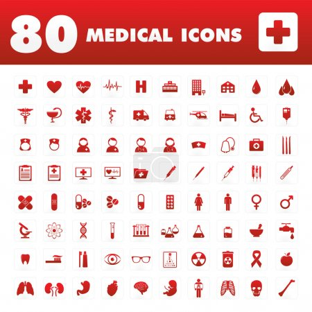 Illustration for A set of eighty unique icons with medical themes. - Royalty Free Image