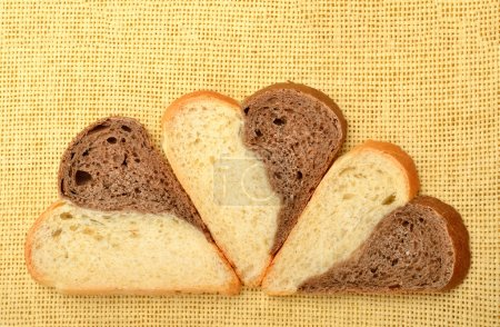 Slices of heart shaped bread