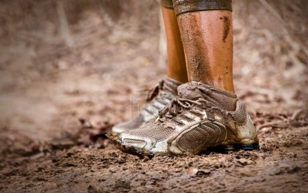 Runner's muddy feet