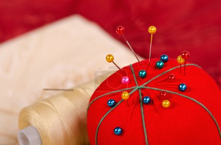 Closeup of pin cushion